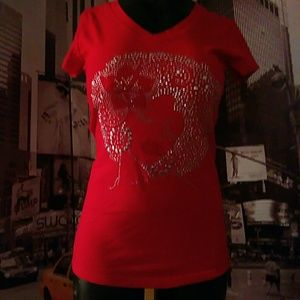 Red Bling Afro Lady Tee
